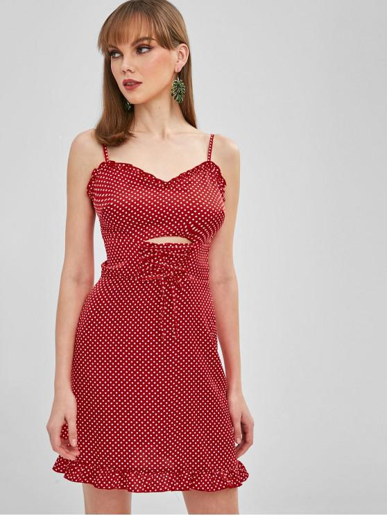 hot ZAFUL Lace Up Polka Dot Cami Dress - RED XL
