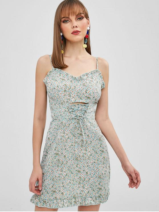 ladies ZAFUL Lace Up Tiny Floral Cami Dress - PALE BLUE LILY S