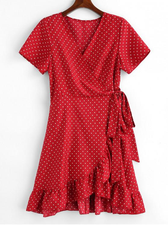 8bc0424e2f9 19% OFF  2019 Polka Dot Ruffle Plus Size Wrap Dress In RED