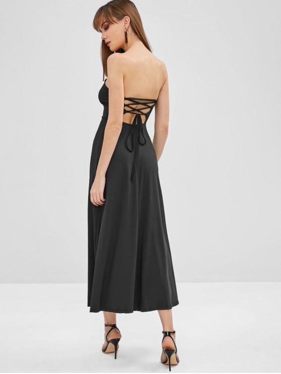 best Lace Up Bandeau Midi Dress - BLACK XL