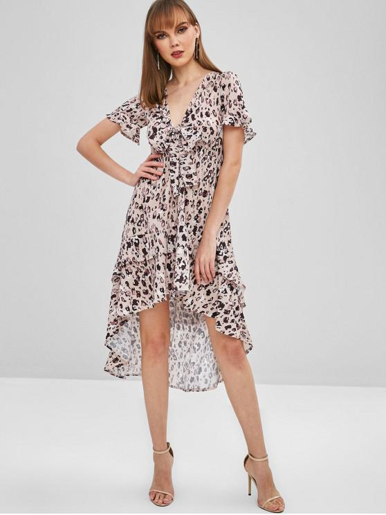 Binden Sie Front Spot Print High Low Kleid - Leopard L