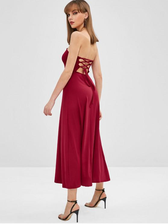 hot Lace Up Bandeau Midi Dress - RED WINE XL