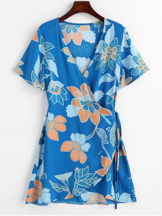 trendy Floral Print Mini Wrap Dress - DODGER BLUE M