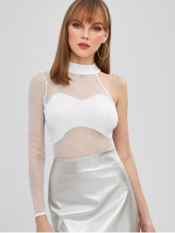 womens Sheer Mesh One Shoulder Snap Crotch Bodysuit - WHITE L