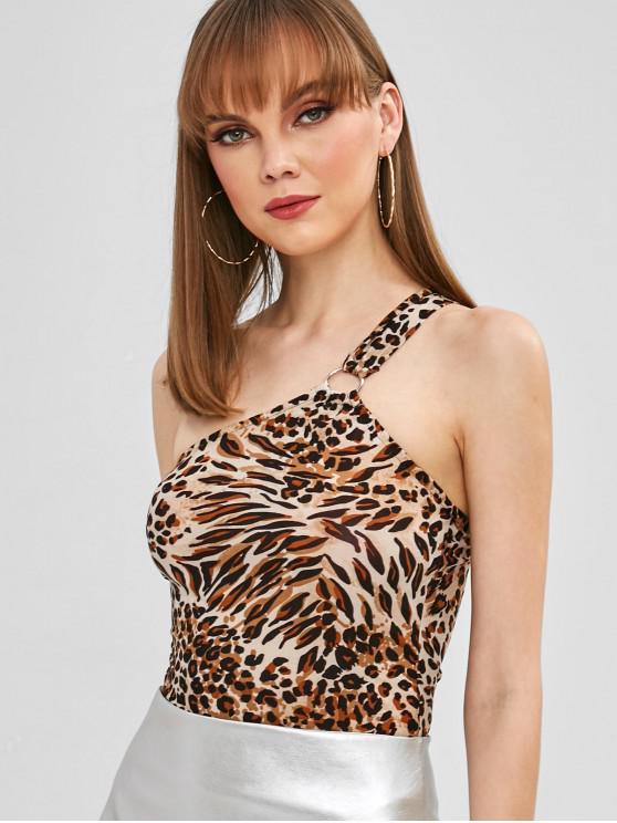 ladies Leopard Print One Shoulder Snap Crotch Bodysuit - LEOPARD L