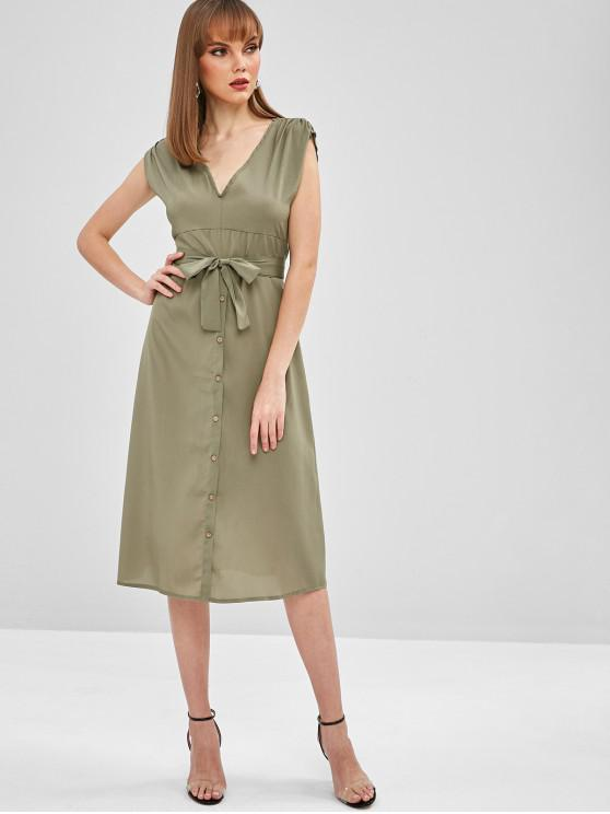 chic Midi Plunge A Line Belted Dress - ARMY GREEN S