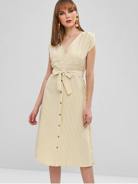online Striped A Line Belted Plunge Dress - YELLOW L