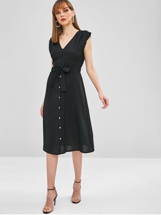 outfits Midi Plunge A Line Belted Dress - BLACK S