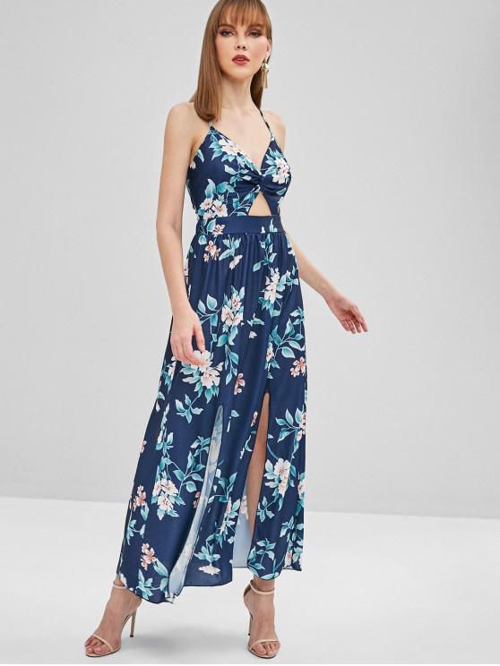 chic Tied Back Twist Floral Maxi Slit Dress - DEEP BLUE S
