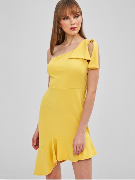 lady Asymmetric Flounce One Shoulder Dress - YELLOW M