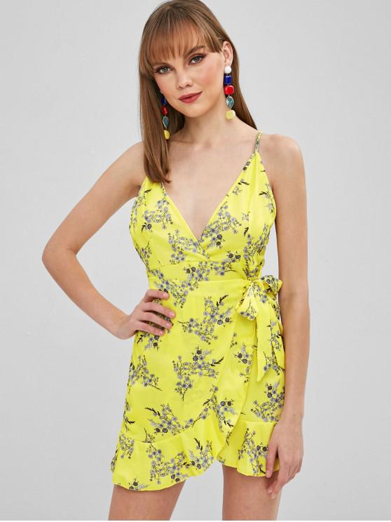hot Ruffled Tied Floral Cami Dress - YELLOW S