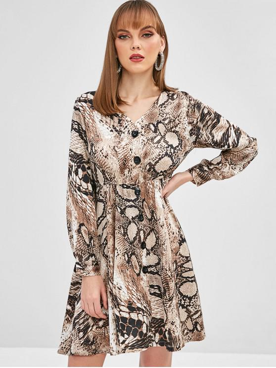 online Snakeskin Print Buttoned A Line Dress - MULTI L