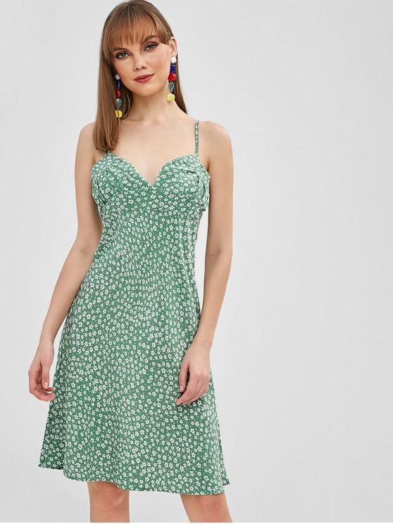 womens Side Zipper Tiny Floral Cami Dress - DARK SEA GREEN L