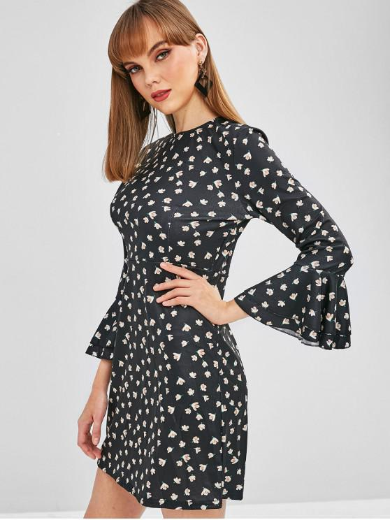 lady Flare Sleeve Tiny Floral Mini Dress - BLACK M