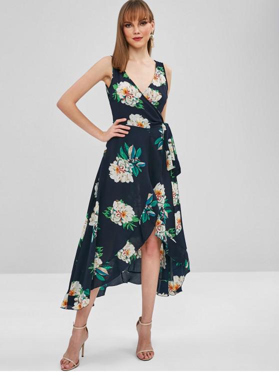 lady Floral Ruffles Maxi Wrap Dress - MIDNIGHT BLUE S