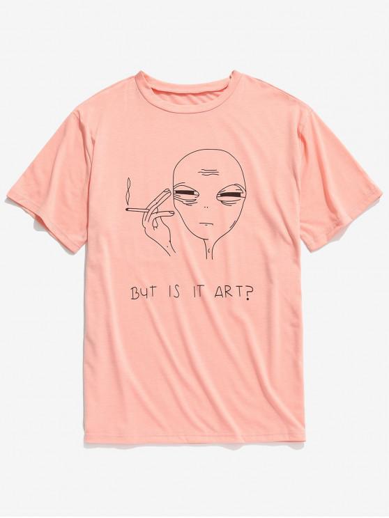 shops Short Sleeve Funny Pattern T-shirt - ORANGE PINK 2XL