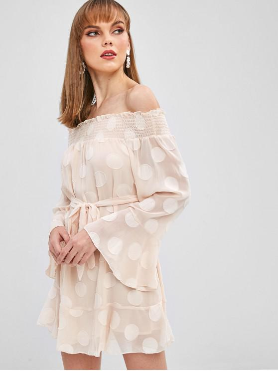 chic Belted Off Shoulder Long Sleeve Dress - CHAMPAGNE L