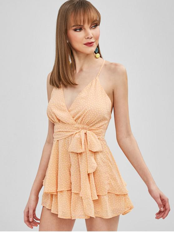 buy Flounce Criss Cross Belted Romper - APRICOT M