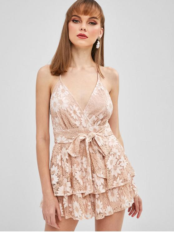outfit Floral Lace Belted Cami Romper - APRICOT S