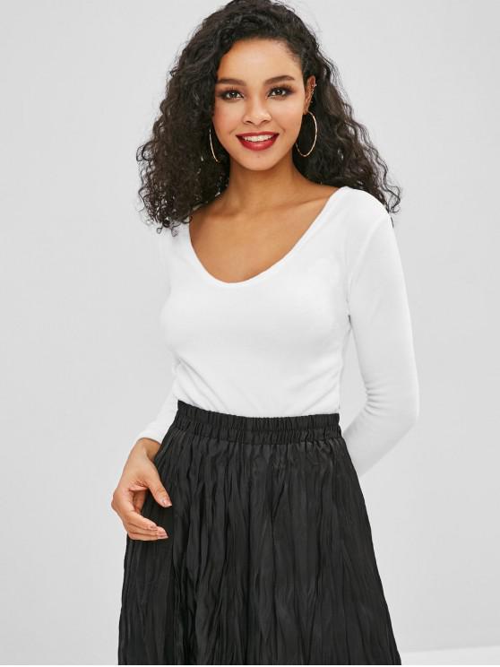 new Plunge Fleece Thong Bodysuit - WHITE M