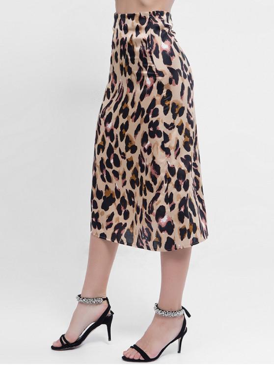 comprar popular 031c6 7d1fa Falda Midi Sedosa Estampada Leopardo LEOPARD