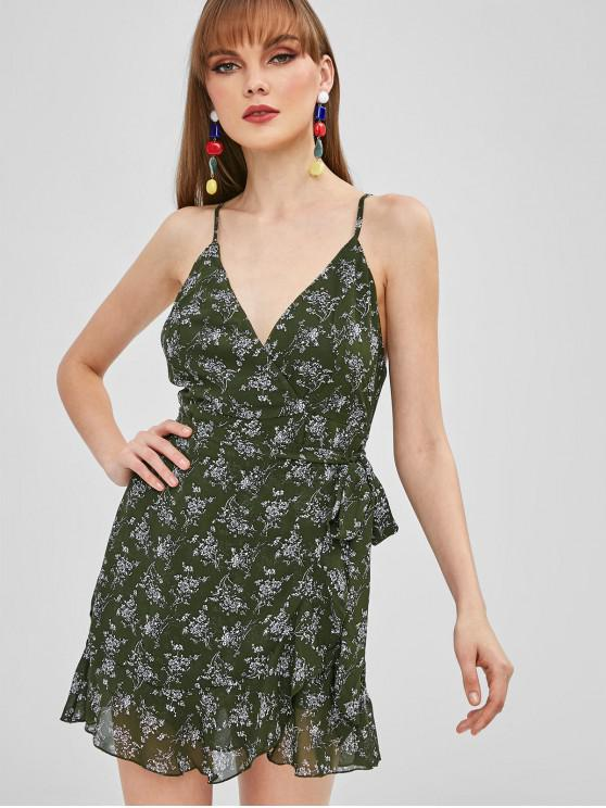 affordable Floral Belted Flounce Cami Dress - FERN GREEN M