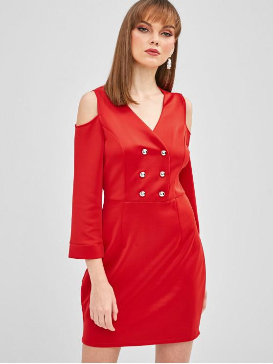 women Buttons Cold Shoulder Fitted Dress - RED M