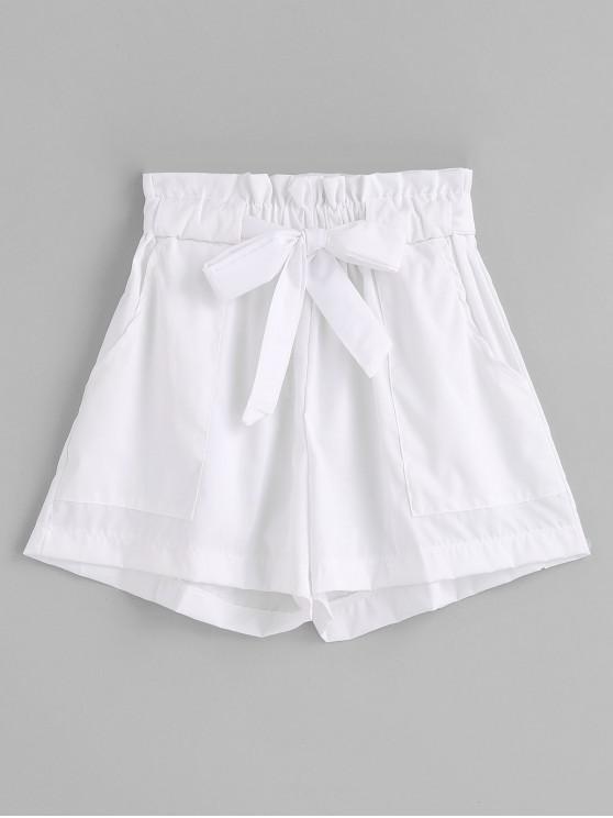 Calções de perna larga com cinto de babados - Branco S