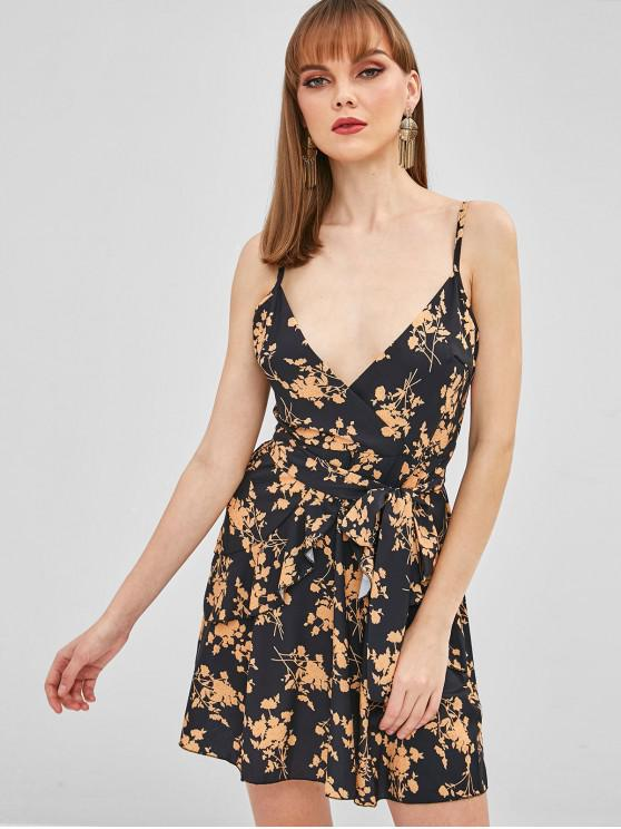 ladies Ruffled Floral Short Cami Dress - BLACK L