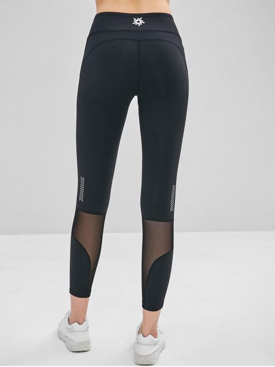 affordable Mesh Insert Hidden Pocket Leggings - BLACK S