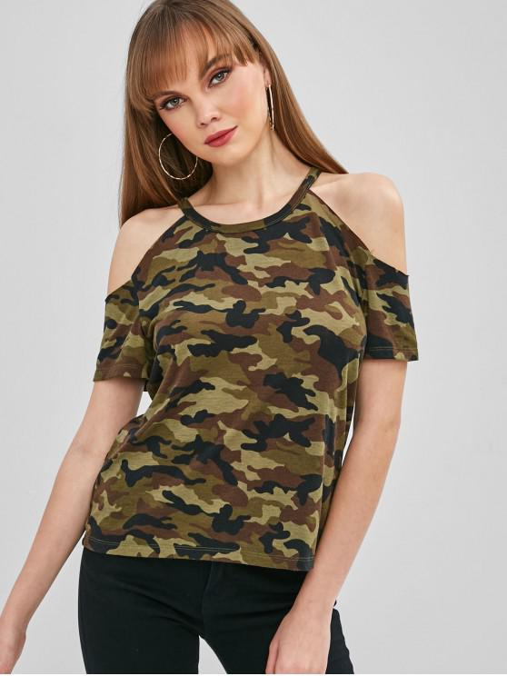 chic Camo Cold Shoulder T-shirt - ACU CAMOUFLAGE L