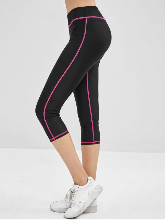 women Elastic Waist Piping Capri Leggings - BLACK L
