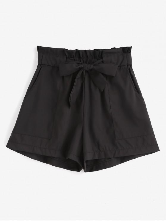 Shorts de pierna ancha con cinturón de volantes - Negro S
