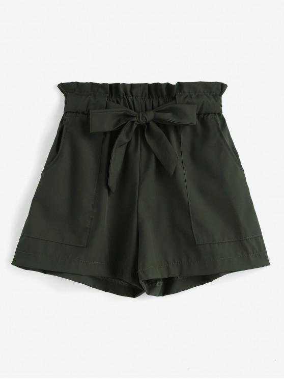 fancy Ruffles Belted Wide Leg Shorts - ARMY GREEN L
