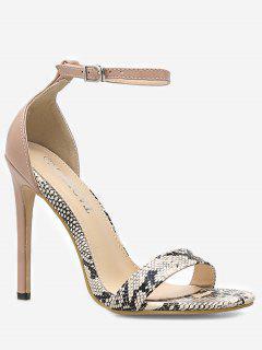 Snake Print Ankle Strap Sandals - Multi Eu 35