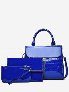 3Pcs Patent Leather Solid Color Tote Bag - Blue