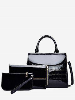 3Pcs Patent Leather Solid Color Tote Bag - Black