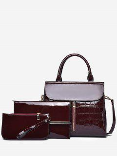 3Pcs Patent Leather Solid Color Tote Bag - Firebrick