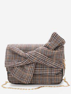 Houndstooth Bowknot Shoulder Bag - Black