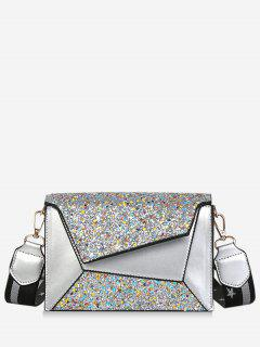 Wide Belt Sequin Design Crossbody Bag - Silver