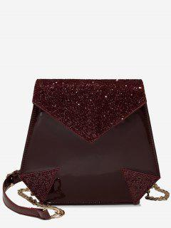 Sequin Design Irregular Shape Crossbody Bag - Red Wine
