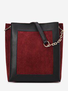 Chain Design Color Block Shoulder Bag - Red Wine