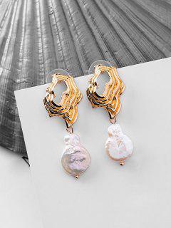 Faux Pearl Irregular Shape Earrings - Or