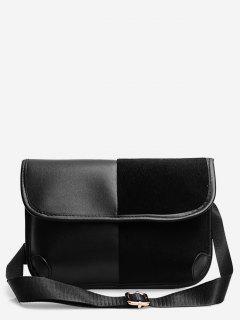 Plush Spliced Contract Color Crossbody Bag - Negro