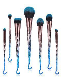 Spiral Design Makeup Brushes Set - Peacock Blue