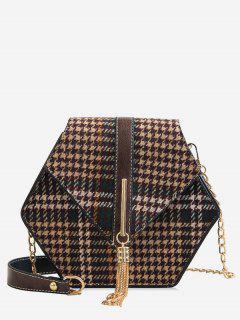 Hexagon Plaid Fringe Shoulder Bag - Khaki
