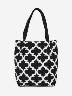 Canvas Letter C Pattern Shoulder Bag - Black