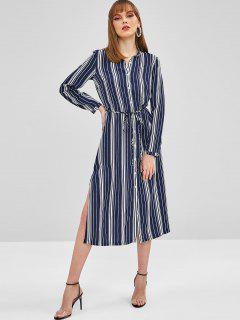 ZAFUL Striped Slit Belted Shirt Dress - Deep Blue L