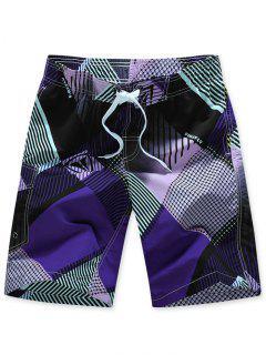 Letters Striped Print Drawstring Beach Shorts - Purple M