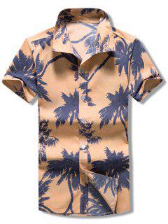 Short Sleeves Coconut Palms Print Casaul Shirt - Multi M